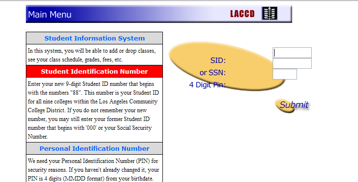 1. Navigate to the Student Information System login page. This page can be accessed through your college website or through the district website. Login using either your student ID or SSN.