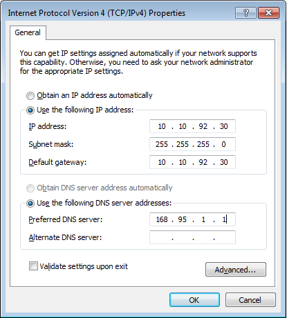 Using a static IP: 1. Repeat steps 1 4 in Using a dynamic IP to start the static IP network configuration. 2 Click Use the following IP address. 3.