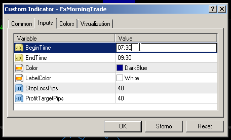 This will display the list of indicators that are on this chart. Choose FxMorningTrade indicator, and click on the Edit button. It will open the indicator settings dialog.