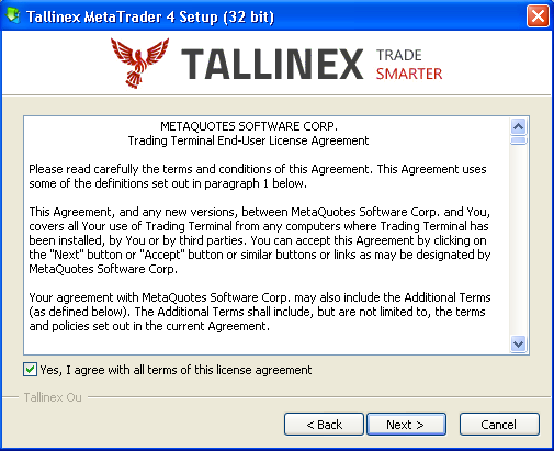 Download and save the Tallinex MT4 setup file (tallinex4setup.exe) to your Desktop or any other location on your system that's convenient for you.