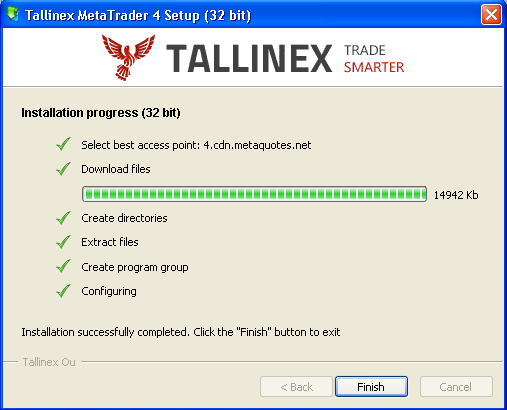 Click Next to continue with the rest of the installation and as soon as you're done, you should see the next final screen. Click Finish and the Tallinex Metatrader will be launched immediately.