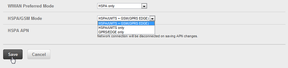 ➎➎ Select the HSPA/GSM Mode from the HSPA/GSM Mode drop-down menu.
