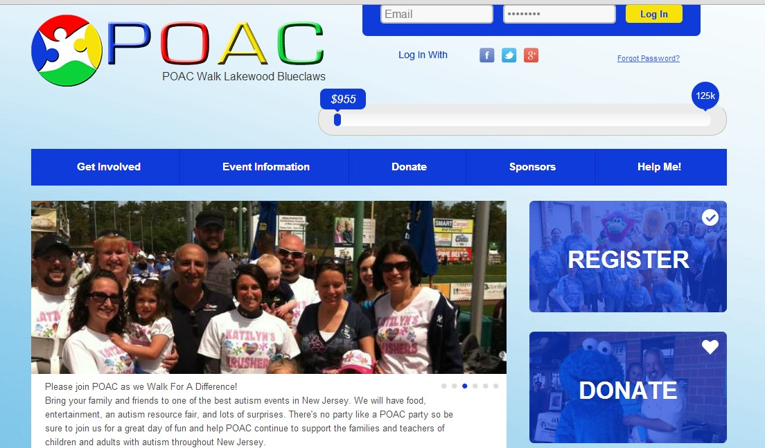 Getting Started Step 1 Get Started Go to www.poacwalk.org to register your team. When you get to the landing page, click on the walk location of your choice.