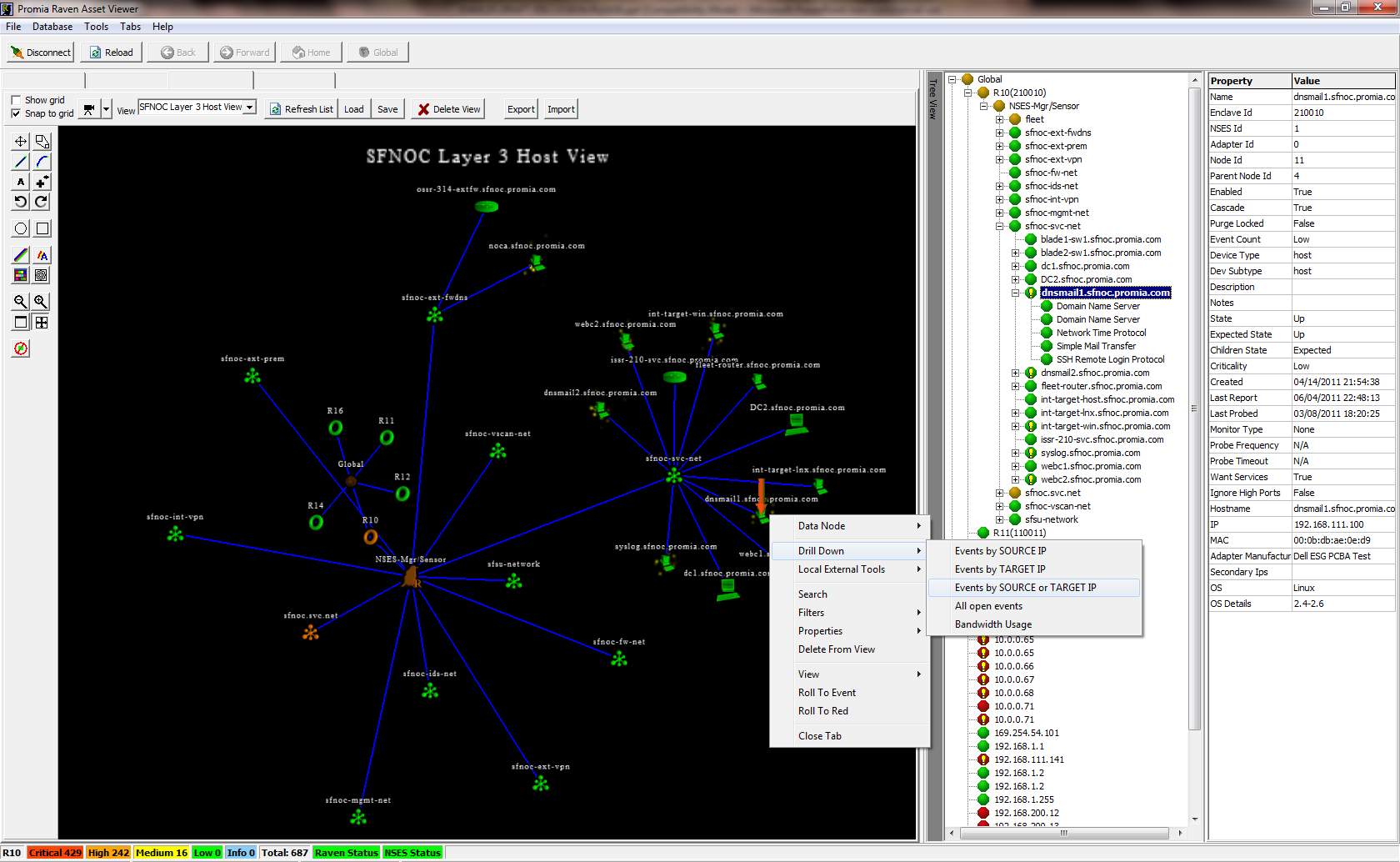 RAVEN Network Asset Viewer Using the web interface, an operator can drill down into and close incidents, see different tactical status views of detected incidents, generate reports, manage the Promia