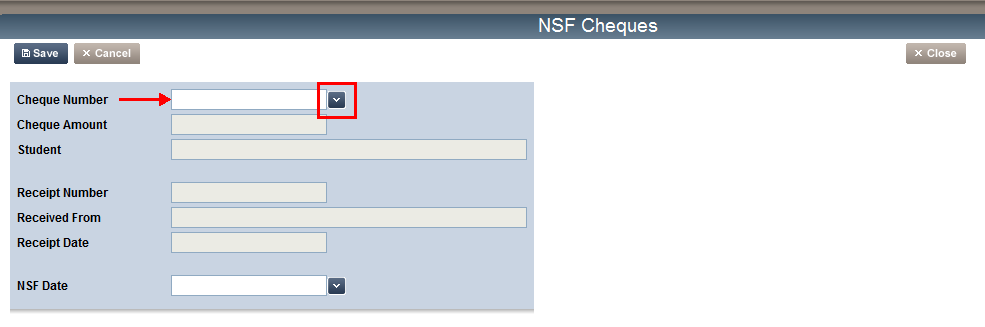 NSF Cheques In this section, you will learn how to process an NSF cheque in efunds. 1. From the Receive Money section, click the NSF Cheques link, the NSF Cheques screen appears. 2.