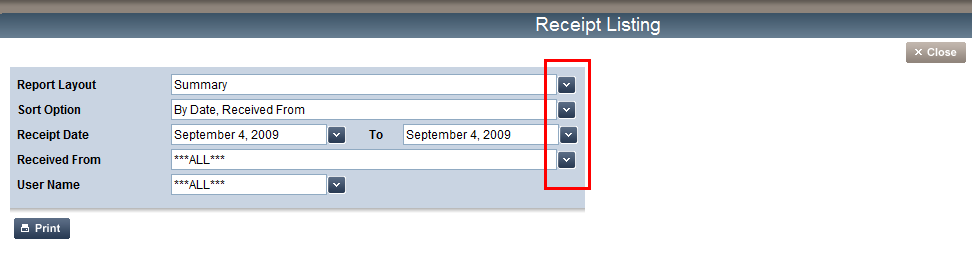 Receipt Listing You can run a report to view a Summary or Detail list of your receipts at anytime. 1.