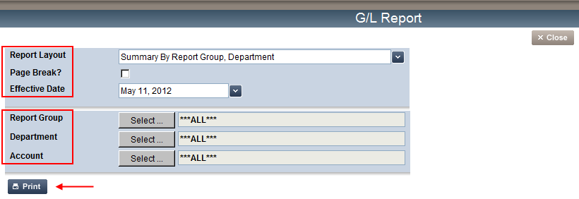 1. From the General Ledger section, click the G/L Report link, the G/L Report screen appears. 2.