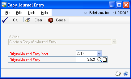 Tip #5 Duplicate a Journal Entry Journal Entry Copy Financials To duplicate a posted Journal Entry, click the Copy button at the top of