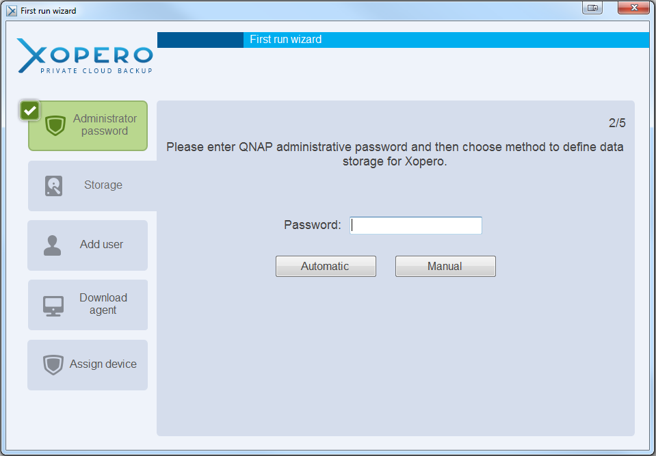Create data storage If you have a default password to your QNAP (admin) the data storage will be created automatically.