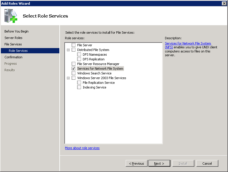 Installing and configuring NFS for SharePoint Granular Recovery About configuring Services for Network File System (NFS) on the Windows 2008 and Windows 2008 R2 NetBackup media server and NetBackup