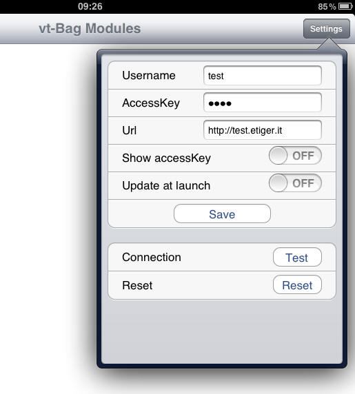 Pag. 2 di 10 FIRST STEPS ON VT-BAG vt-bag first screen offers the list of modules and is empty at the first start. To retrieve the modules list you should perform two actions: 1) Login.