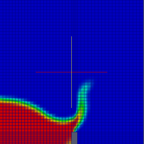 Comparison in terms of mesh resolutions, of a transient flow of two fluids finer resolution Time=0.2 s.
