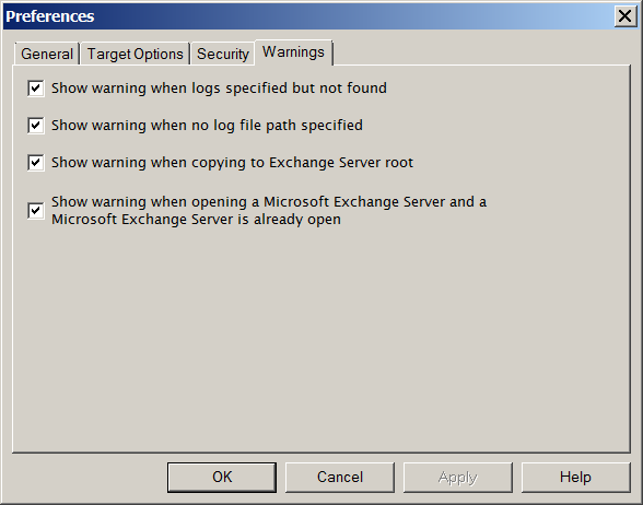 Chapter 1: Looking at the Interface Figure 1-19: The Warnings tab in the Preferences dialog box To change the security preference settings 1. On the Edit menu, click Preferences, then click Warnings.