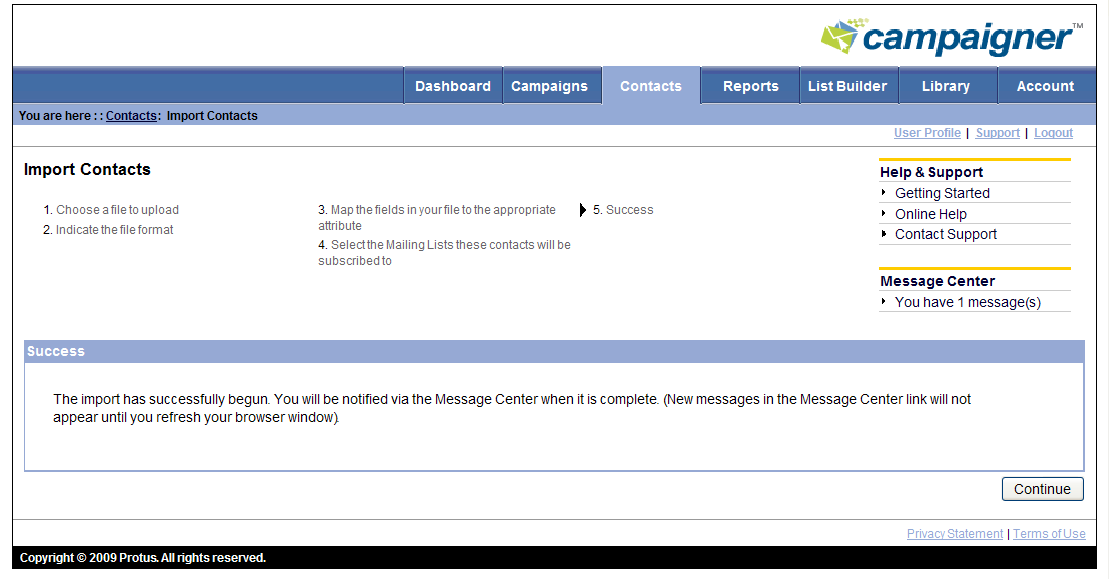 The contacts page can be refreshed to display the current status of the import.