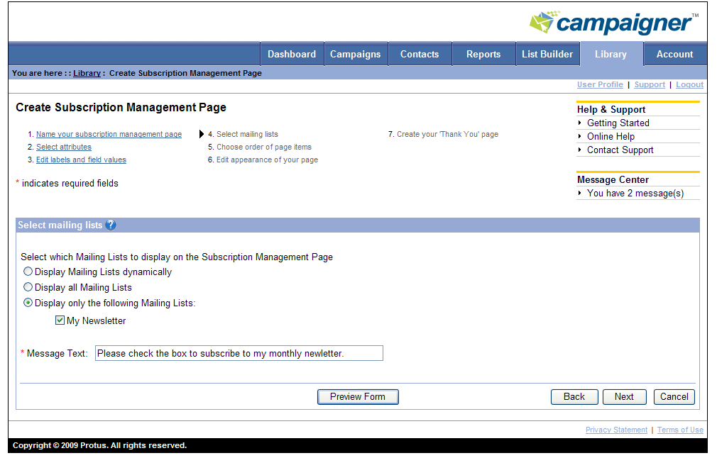 6. Edit the fields and attributes that will appear in the Subscription Management page.