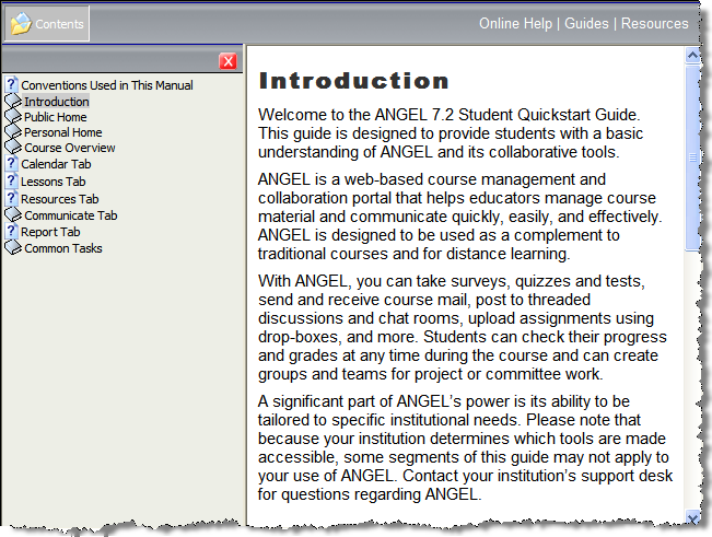 The left-hand pane of the Help window displays the Student Essentials contents. When you click a help topic s heading in the left pane, the topic s text appears in the right-hand pane.