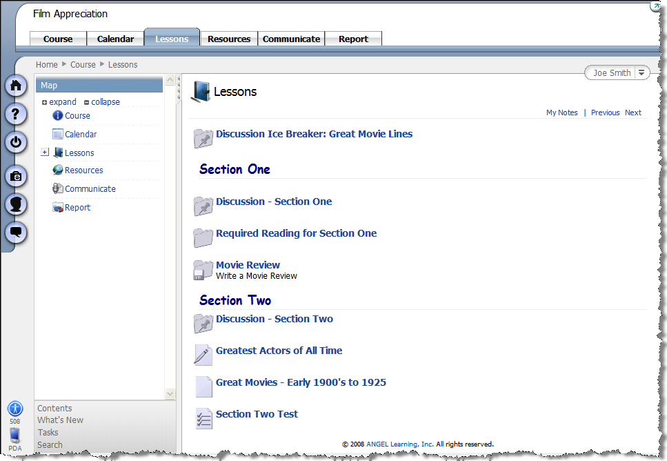 Lessons Tab The bulk of your instructional material is located on the Lessons tab.