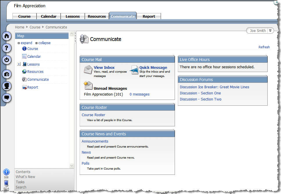 Communicate Tab The Communicate tab provides access to the course s communication tools.