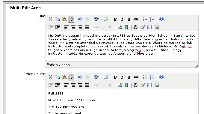Editing Faculty Home Page 1. To edit your Faculty Profile page or home page, click on the orange Multi Edit button on the top. 1. The Page Multi Edit screen will appear.
