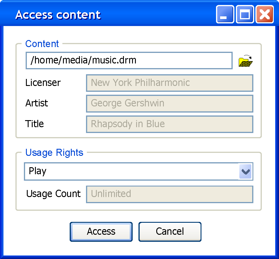 Use Case Unique ID / UC 50 / Title Content Usage Description User opens a secure file container mediafile to enclosed content c according to enclosed license lic c.