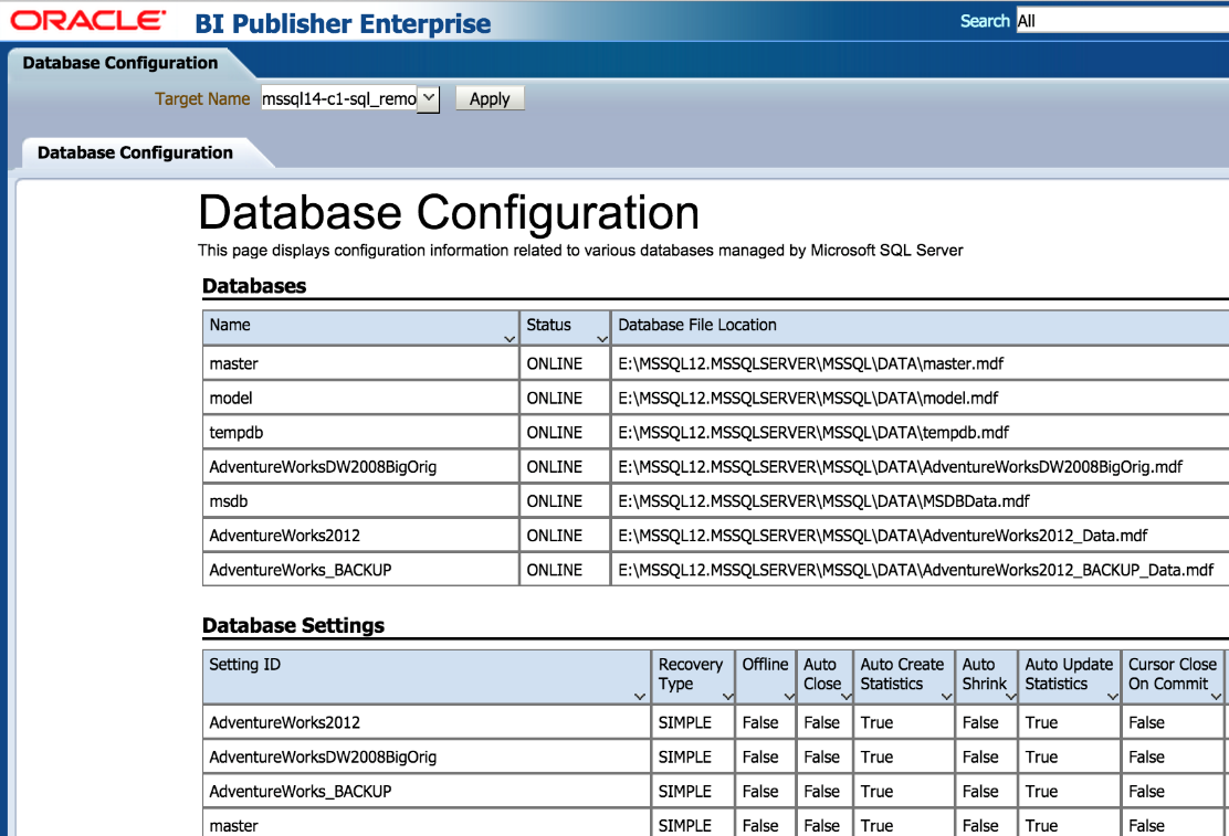 Reports Configuration In-depth configuration reports Reports for database and