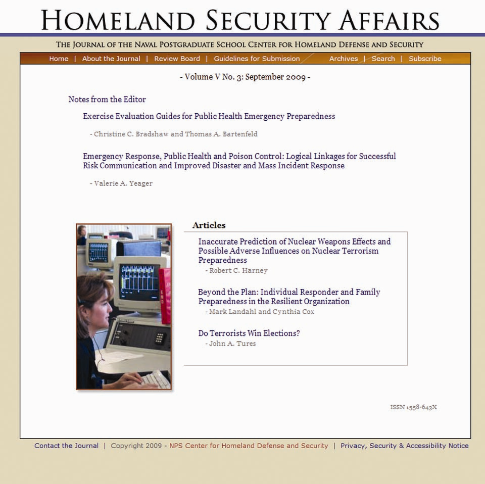 Homeland Security Affairs Journal Academic, On-line journal (www.hsaj.