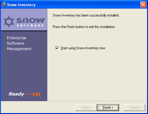 Select a password for your SnowAdmin account. This is the account that you will use to start up the Snow Inventory console. You are now ready to install Snow Inventory.