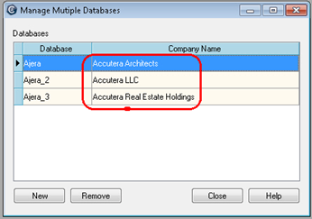 Manage multiple databases 7. To see all of your renamed databases, log into the original Ajera database. 8. From the File menu, click Manage Multiple Databases.