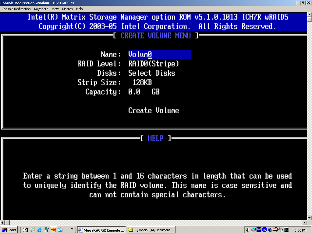 Creating a RAID 0 Volume 1. Select CREATE RAID VOLUME from the MAIN menu and press the <ENTER> key. The following screen will appear: Figure 2. RAID 0 Volume 2.