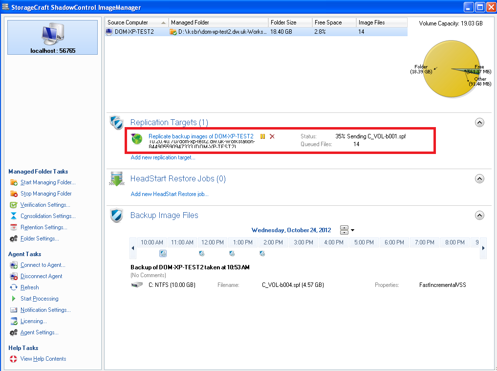 Configuration of Managed Folders on Replication Target Server 11. Save the configuration. The replication status will be reported here.