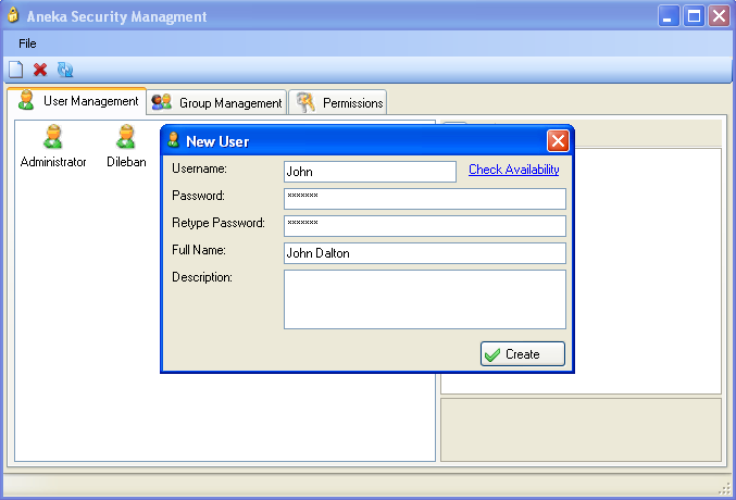 8.7 User Management The User Management dialog can be accessed by selecting User Management from the Tools menu. This dialog is used for managing Aneka user accounts, user groups and user permissions.