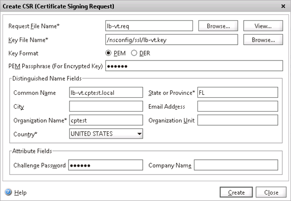 2. In the details pane, under SSL Certificates, click Create CSR (Certificate Signing Request).