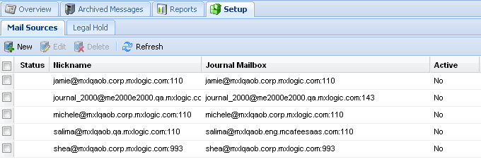 Creating and Managing Mail Sources 2 Click New.