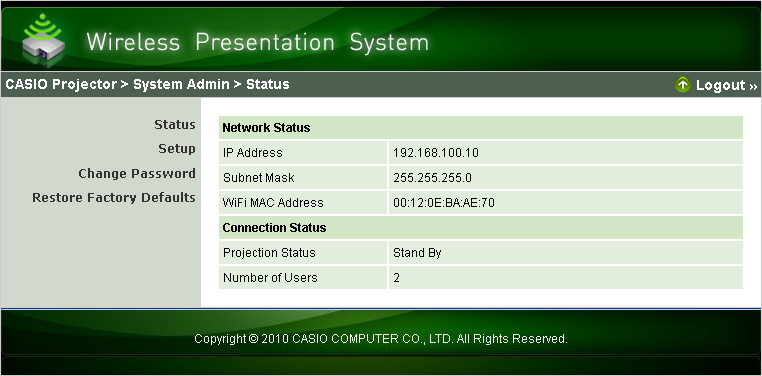 4. Click the [Login] button. This logs in to the System Admin page and displays the Status screen.