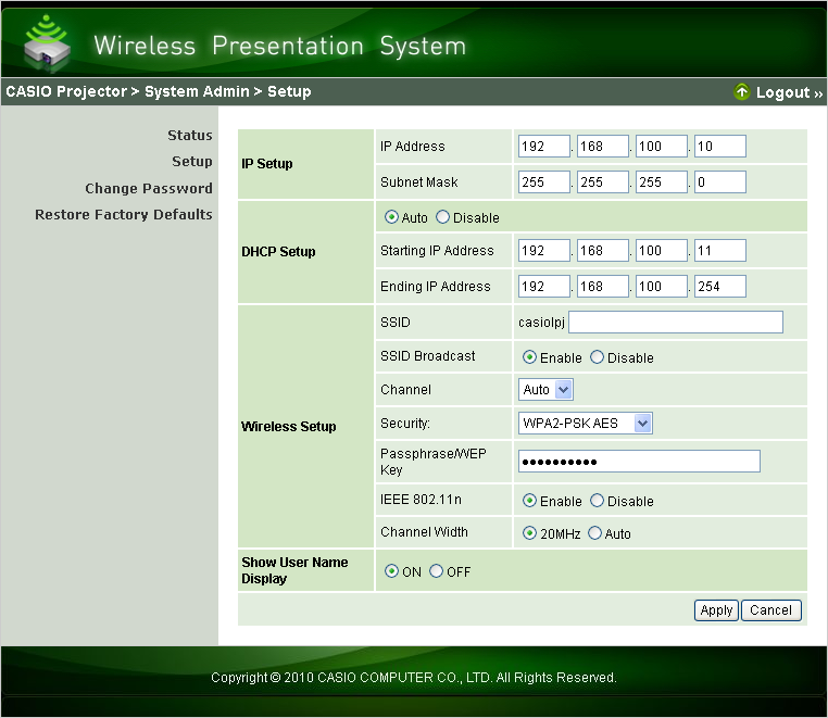 To configure projector network settings and wireless LAN connection settings 1.