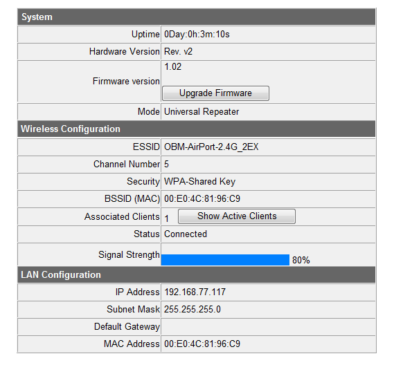 IV. Extender Mode IV-1. Home The Status page displays basic system information about the device, arranged into three categories: system, wireless configuration & LAN configuration.