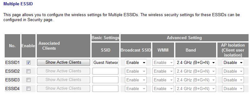 Multiple ESSID This page allows you to configure the wireless settings for multiple ESSID s. No. Enable SSID Broadcast SSID WMM Band Identification number of each additional ESSID.