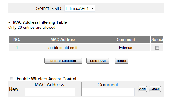 VI-5-2. MAC Filtering The MAC filtering feature allows you to define a list of wireless devices permitted to connect to this access point, identified by their unique MAC address.
