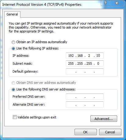 6. Select Obtain an IP address automatically and Obtain