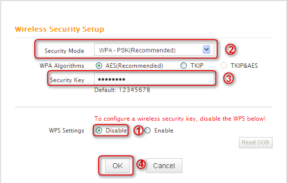 2.6.2 Wireless Security Settings If you want to encrypt your wireless network, click