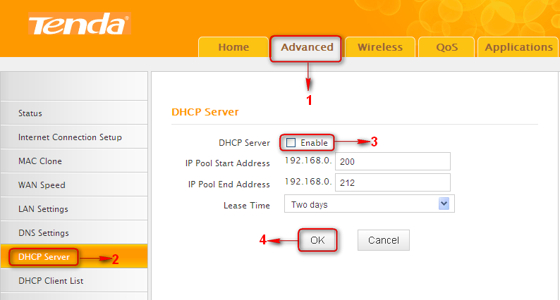 6) Go to Wireless Security page and set the wireless security settings exactly as they are on the link partner (Router 1). 7) Go to DHCP Server to disable the DHCP on Router 2.