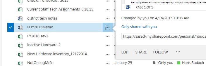 Sharing Files In OneDrive, you may also share your documents with other SASED staff members as needed.