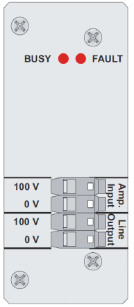 WayGuard WG-LRM01 Zone B Controller WG-LRM01 connections view 1 2 1. LED BUSY : indicates the line is busy 2. LED FAULT : indicates a falult on the line 3. 100V input from mani amplifier 4.