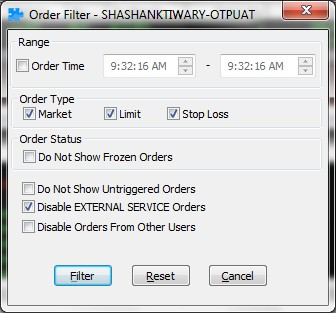 Fig: Order Filter Window How to filter based on account ID or participant code?
