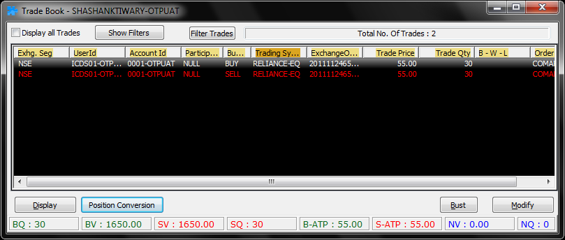 All placed orders which have been traded can be seen in trade book dialog.