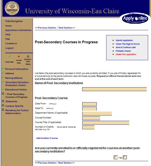 Screen 20: Post-Secondary Courses Please use the key below to list your current home institution.