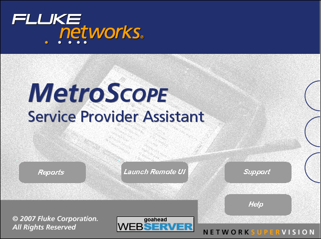 Accessing the Instrument Remotely The MetroScope Service Provider Assistant web server home page (Figure 9) is displayed.