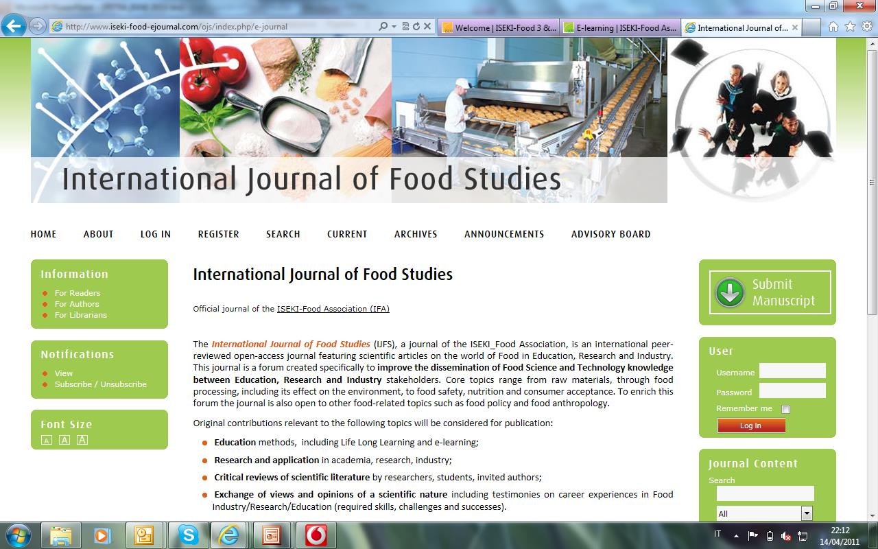 IFOOD4 - Work plan International Journal of Food Studies Open souce,