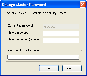 If the Use a master password security option is not enabled (the default), your key is generated. If this security option is enabled, the Change Master Password dialog box appears.
