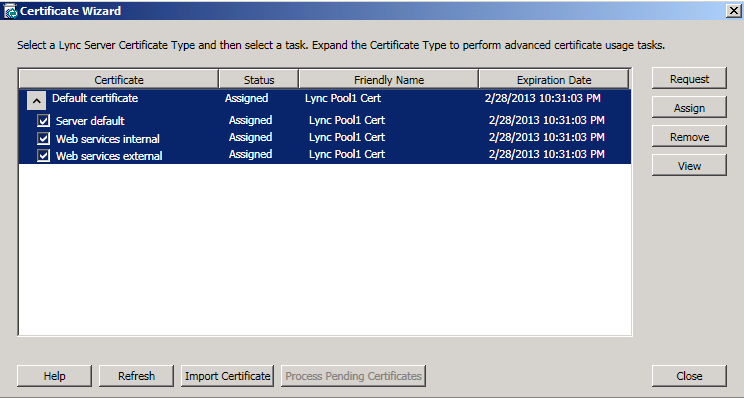 20. The Certificate Wizard will now show a Status of Assigned